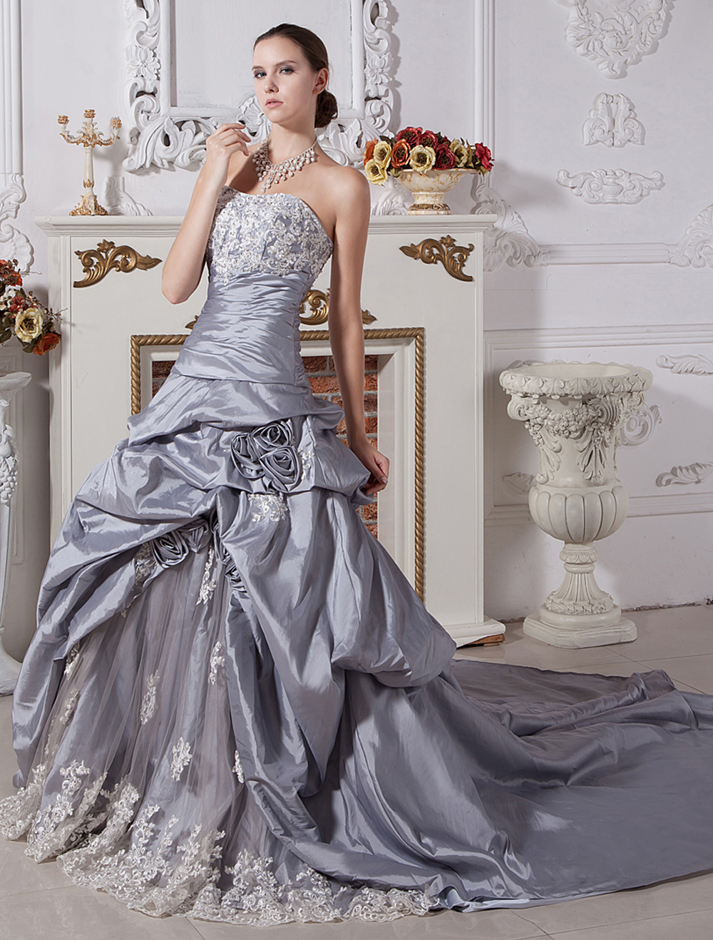 Wedding Dresses Ball Gown Strapless Bridal Dress Silver Taffeta Lace Beading Ruched Dropped Waist Court Train Bridal Gown