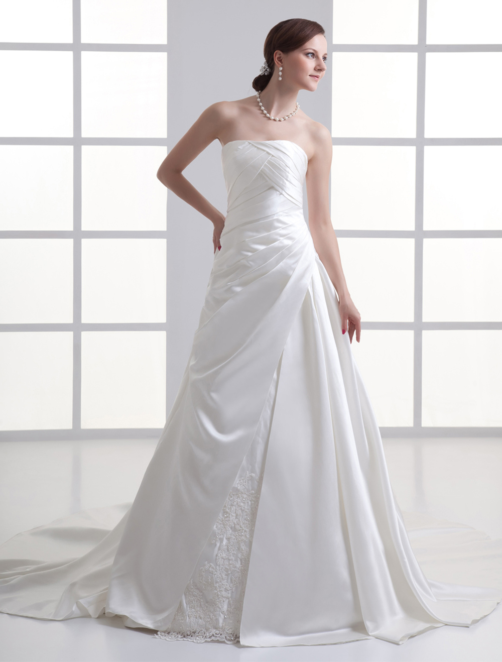 Luxurious Ivory Pleated Strapless Satin Wedding Gown