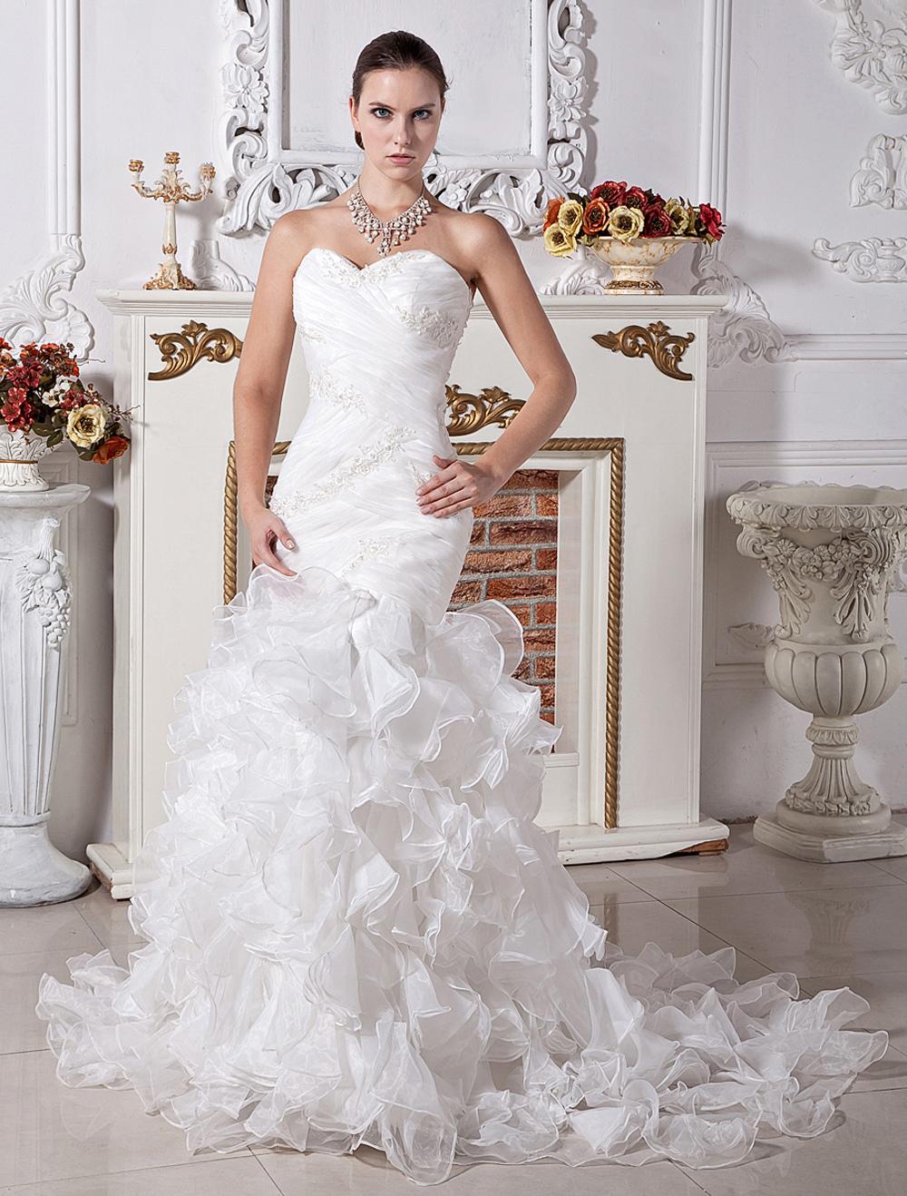 Wedding dresses mermaid trumpet ivory bridal gown satin for Organza trumpet wedding dress