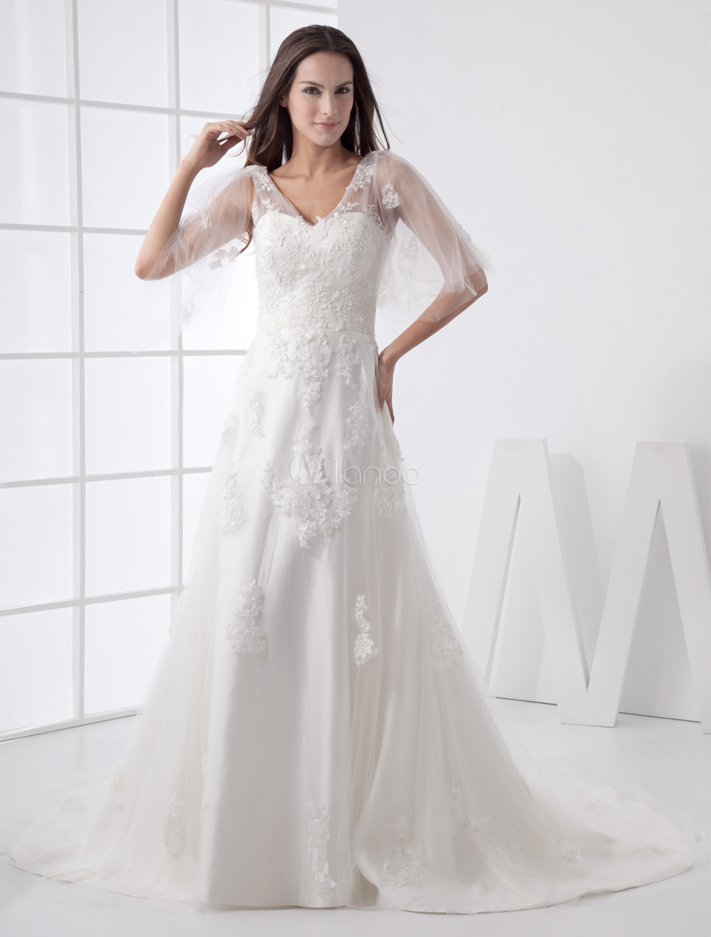 White A-line Beautiful Net Satin Bridal A-line Wedding Dress ...