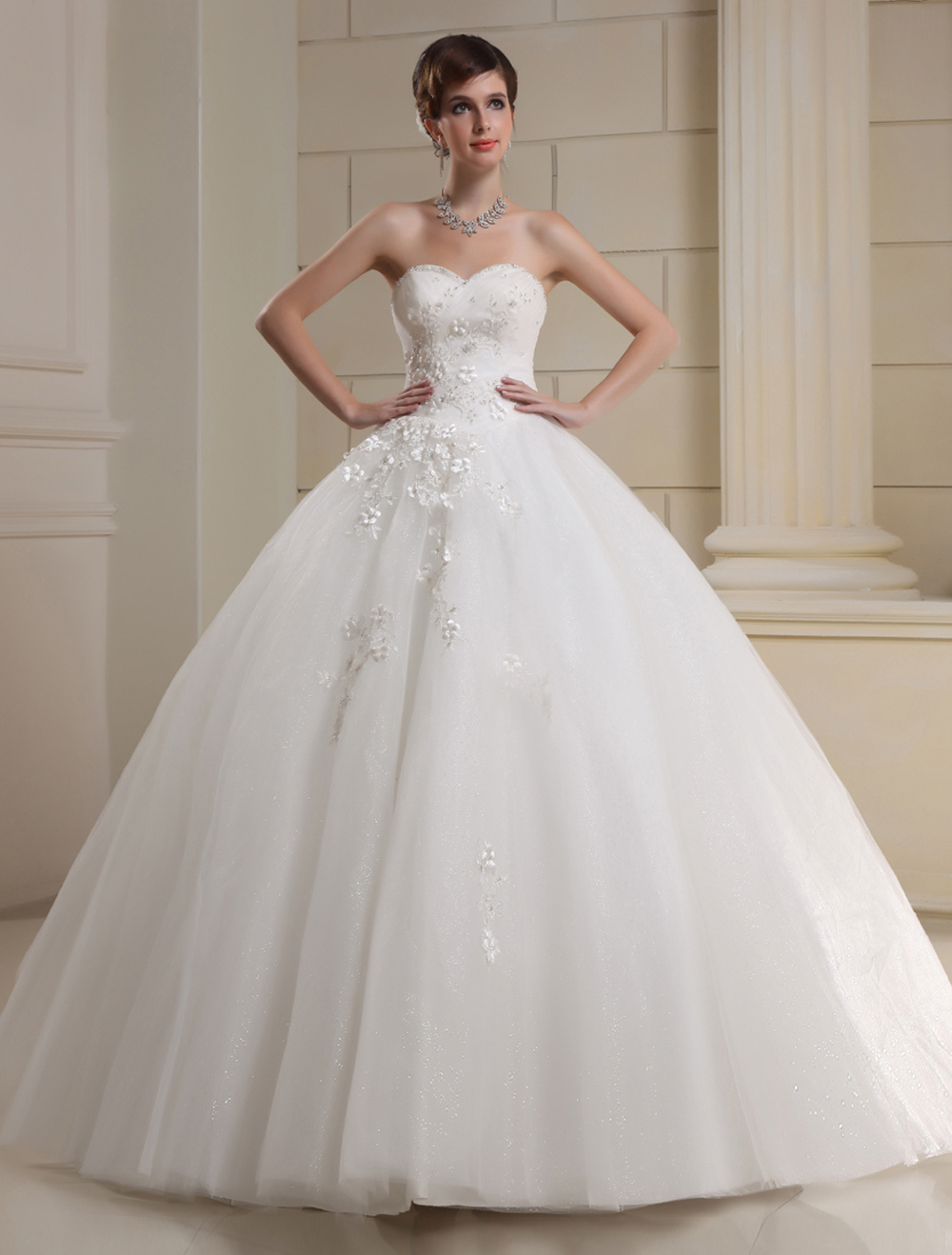 Wedding dress strapless tulle bridal gown flowers beading for Tulle a line wedding dress