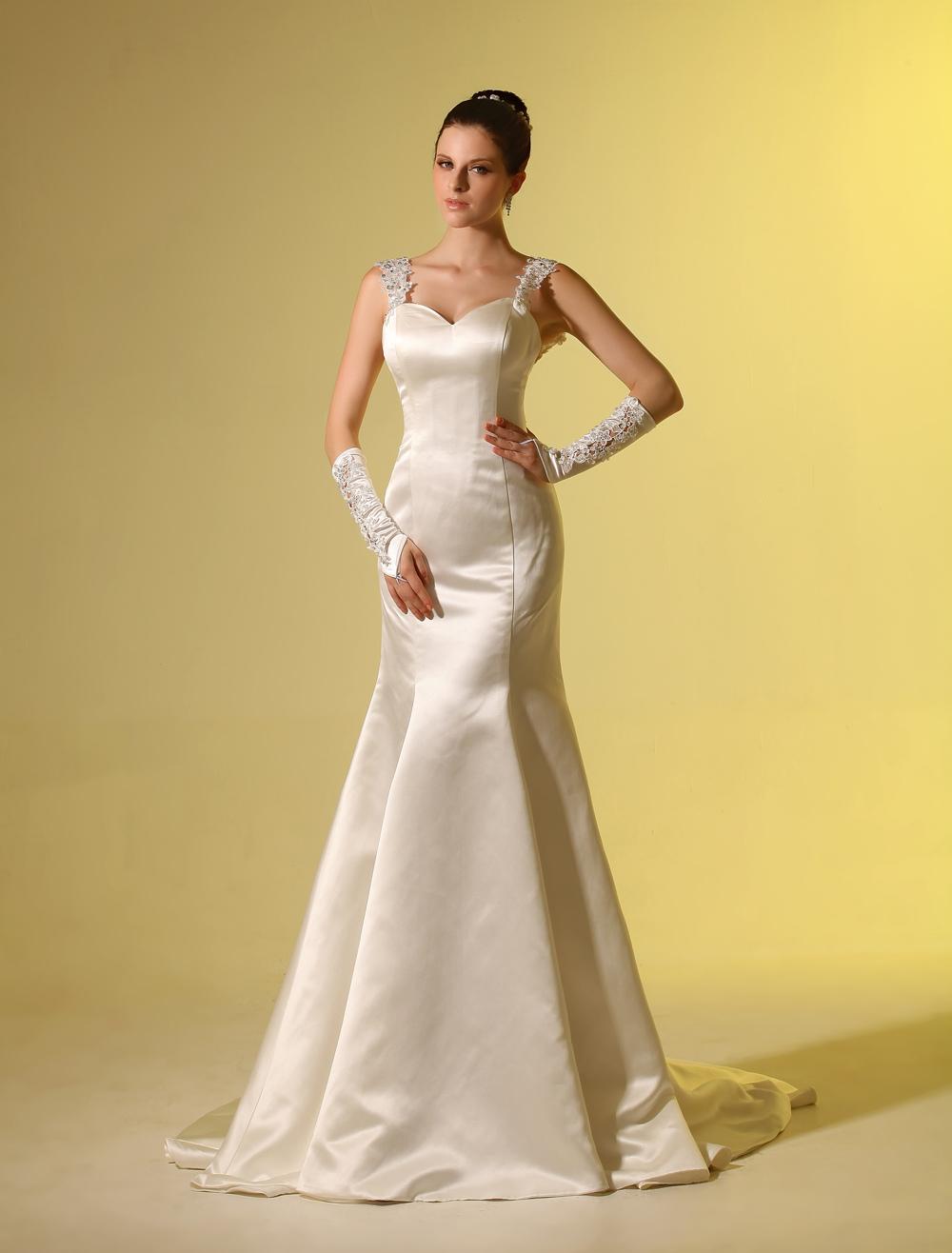Sweetheart Mermaid Spaghetti Ivory Wedding Dress For Bride  Milanoo