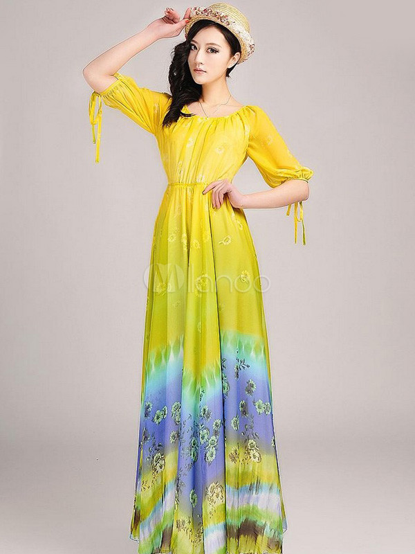 b9cb526b72cd3 Chic Yellow Printed Chiffon Scoop Neck Maxi Dress - Milanoo.com