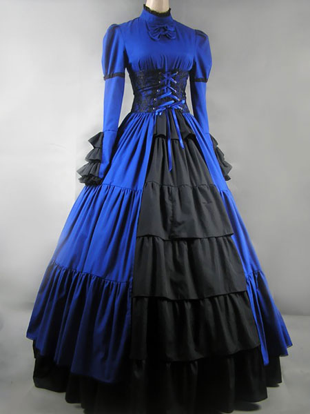 Women S Vintage Costume Victorian Blue Satin Ruffle High Collar Retro Maxi Dress No