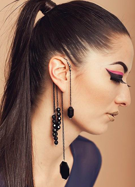 Modern Black Metal Women's Fashion Earrings