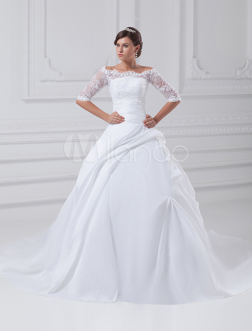 White Ball Gown Strapless Beading Taffeta Bridal Wedding Gown