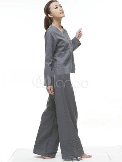 tenue de yoga femme l gante blanche 55 coton 45 lin. Black Bedroom Furniture Sets. Home Design Ideas