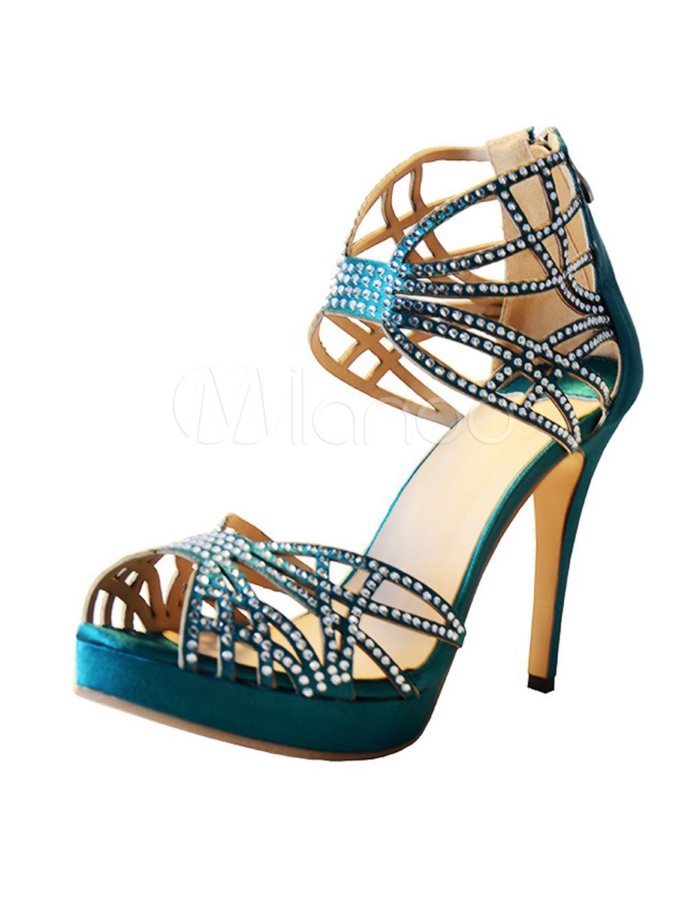 88fb2ca1610c03 Dark Green Silk And Satin Rhinestone Stiletto Heel Rubber Sole Dress Sandals  - Milanoo.com