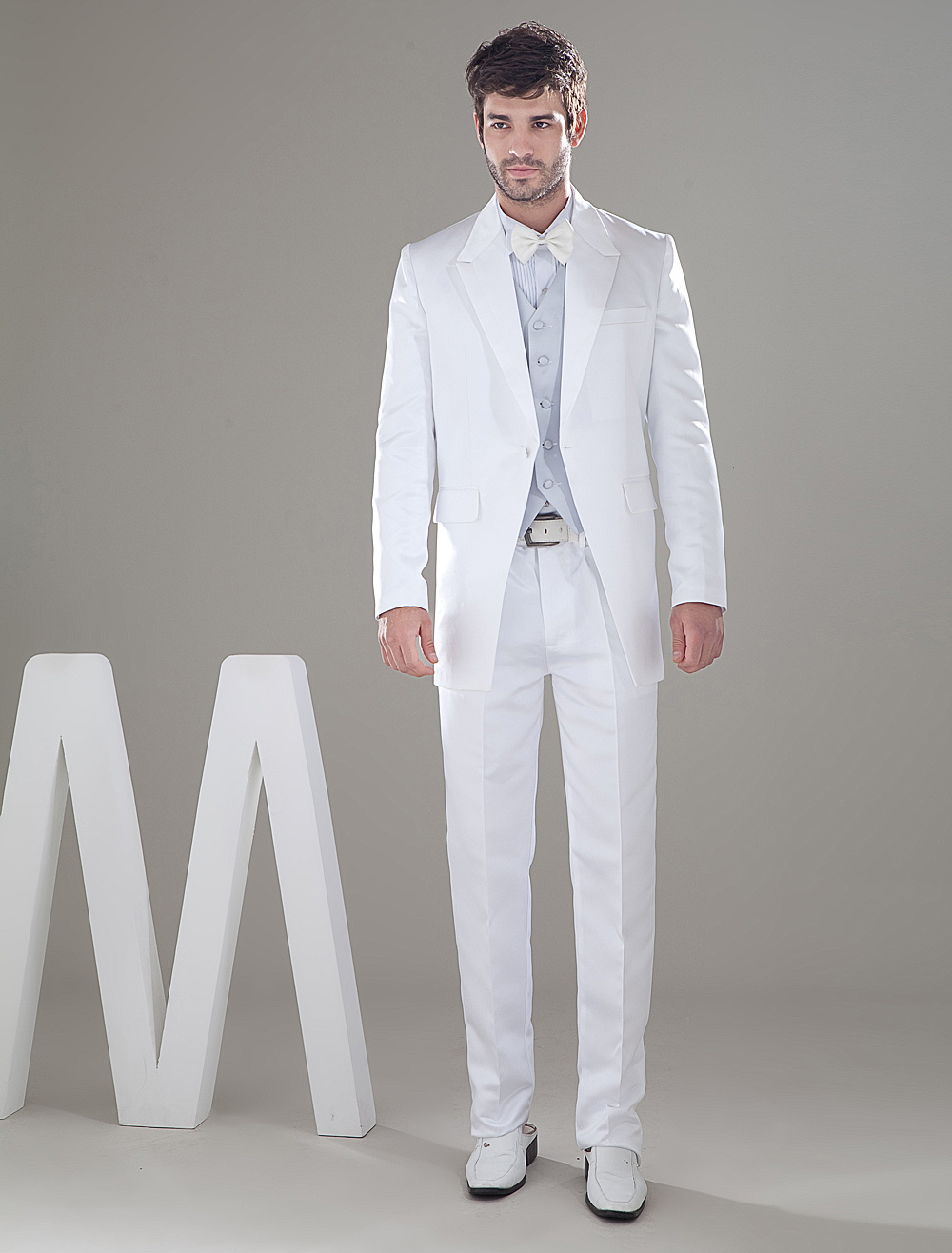 Buy Smart White Single Breasted Button Lapel Worsted Groom Wedding Tuxedo for $149.99 in Milanoo store