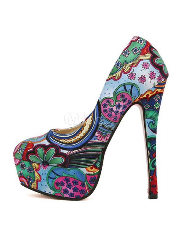 primer nivel primer nivel mayor selección de 2019 Zapatos de tela con estampado floral de tacón stiletto