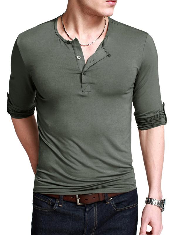 T shirt casual en polyester unicolore col boutonné manche longue