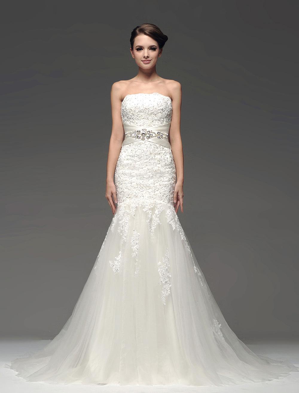 Ivory Beading Strapless Mermaid Wedding Dress