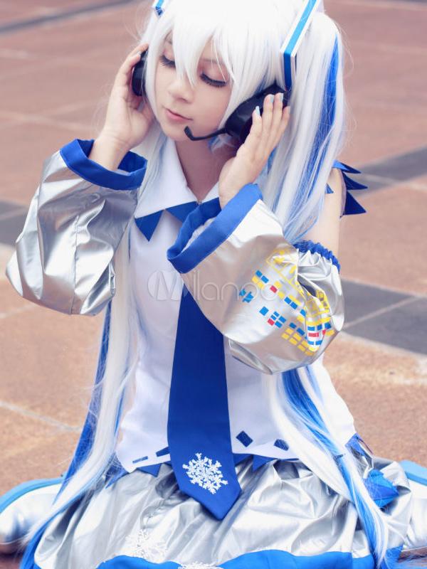 Vocaloid Snow Miku Halloween Cosplay Costume 65 Percent Cotton 35 Percent Terylene  Halloween