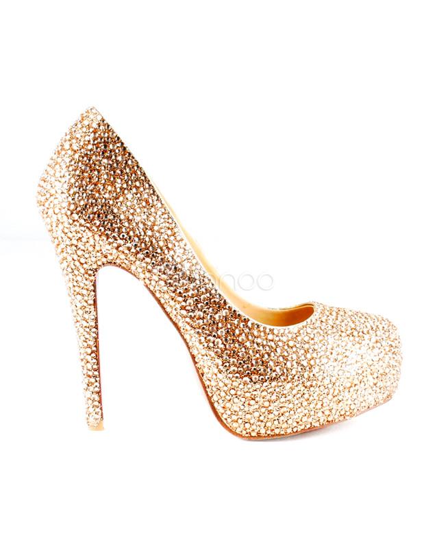 Glitter Champagne Sheepskin Rhinestone Women s Platform Pumps-No. ... f647272e8aa8