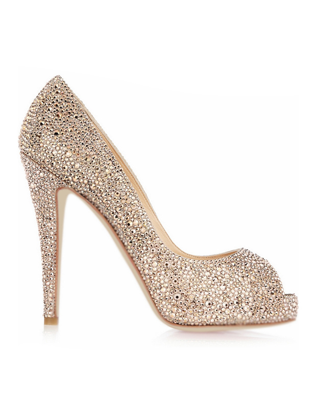Buy Sheepskin Rhinestone Peep Toe High Heels for $81.89 in Milanoo store
