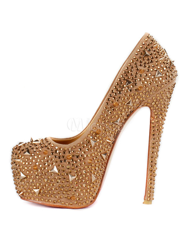 Buy Sheepskin Suede Spikes Platform Pumps for $82.64 in Milanoo store