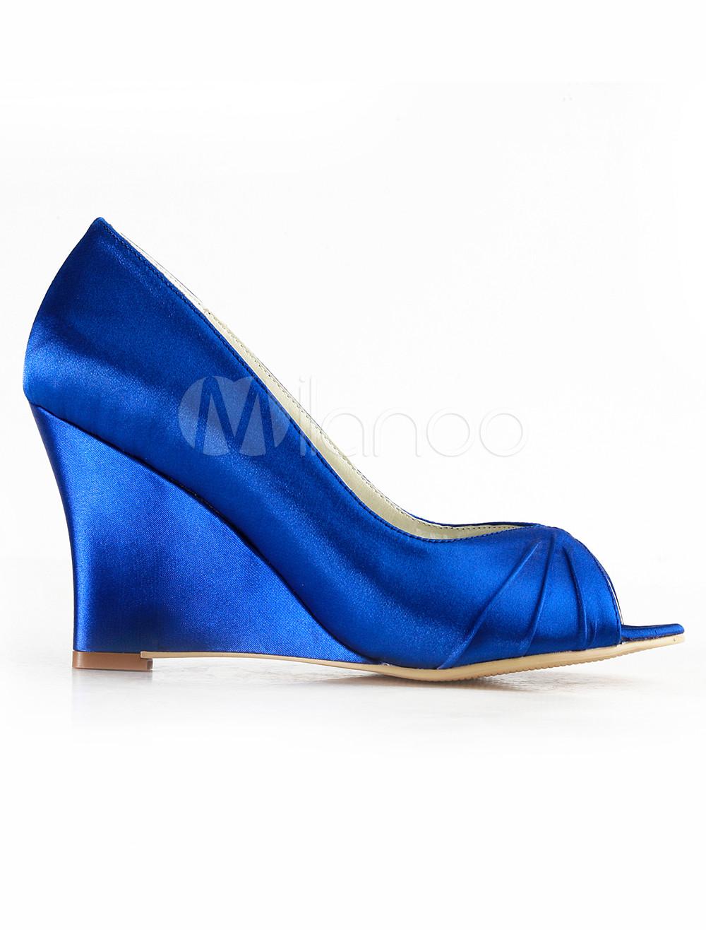 blue wedge heel peep toe bridal shoes milanoo