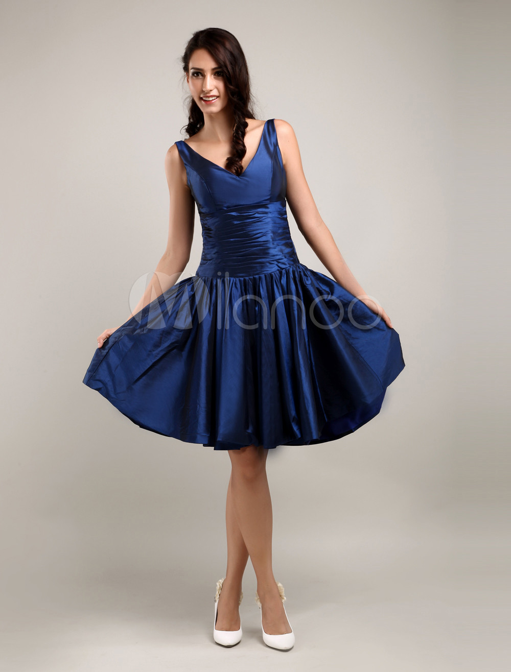 8aed2612ef13 ... Enticing V-Neck Pleated Knee Length Taffeta Bridesmaid Dress-No.8. 12.  90%OFF. Clearance. Color:Dark Navy