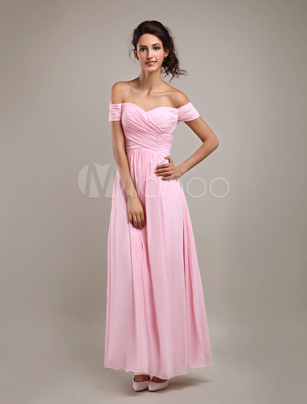 Vestido de damas rosa de gasa de línea A con hombro caído y con ...