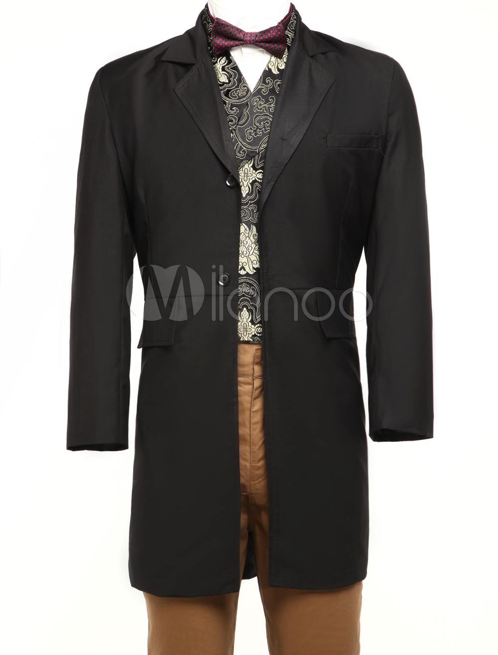 Buy Men's Vintage Costume Victorian Black Coat Retro Overcoat Halloween for $104.99 in Milanoo store