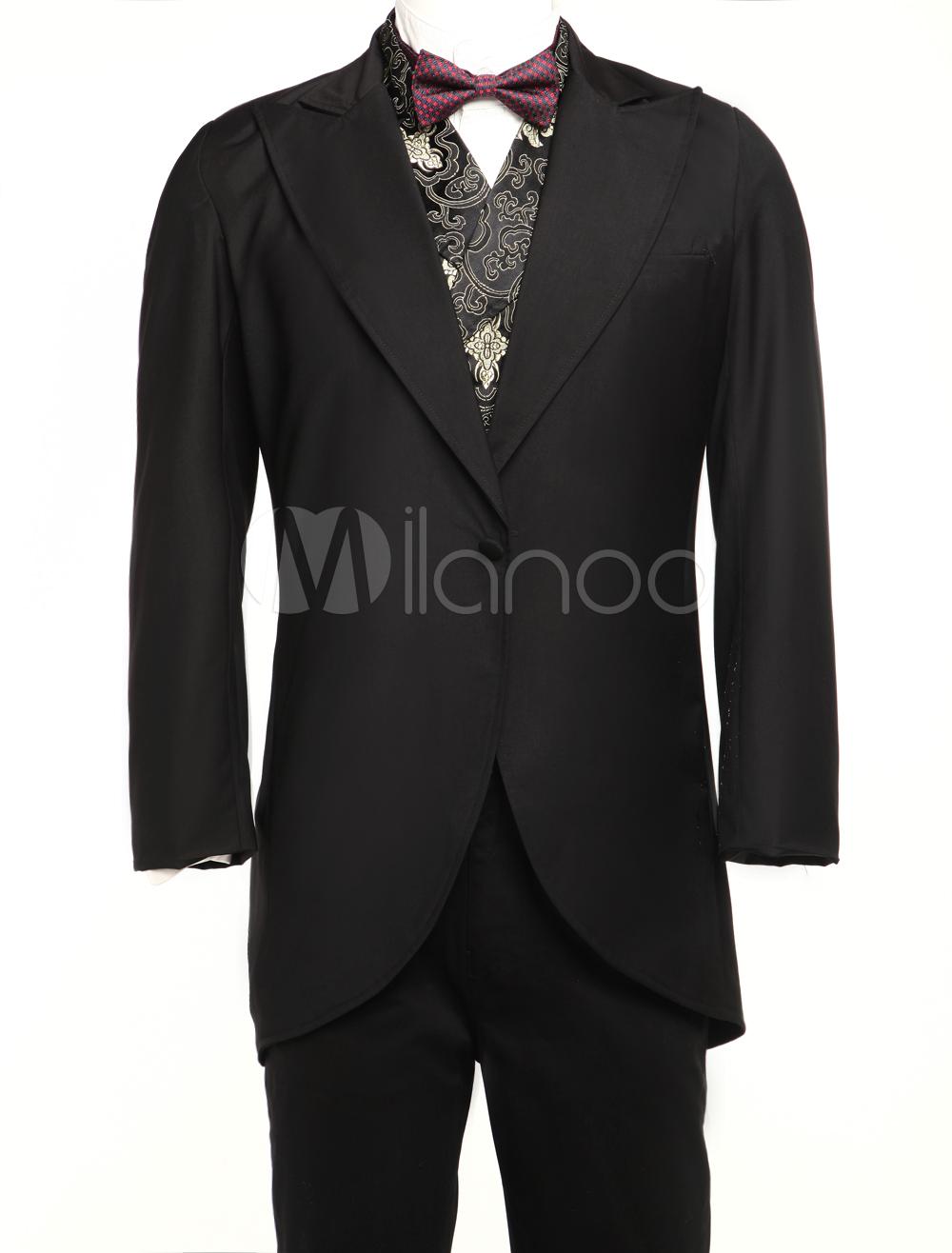 Buy Men's Vintage Costume Rococo Black Coat Retro Overcoat Halloween for $87.99 in Milanoo store