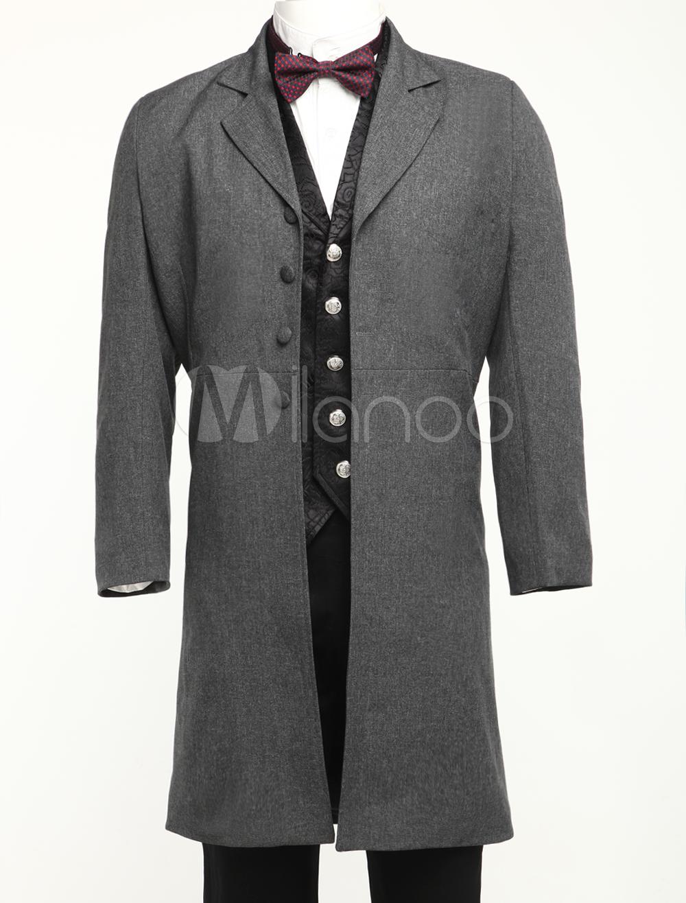 Buy Men's Vintage Costume Victorian Grey Coat Retro Overcoat Halloween for $90.99 in Milanoo store