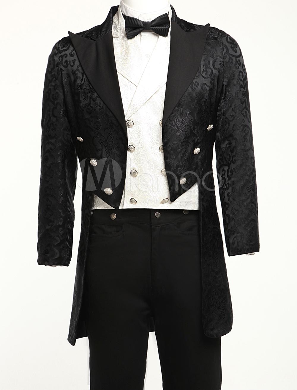 Buy Men's Vintage Costume Rococo Black High Low Coat Retro Overcoat Halloween for $87.99 in Milanoo store