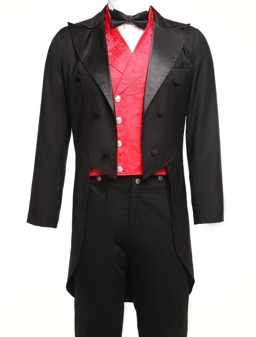 Buy Men's Vintage Costume Victorian Black High Low Coat Retro Overcoat Halloween for $90.99 in Milanoo store