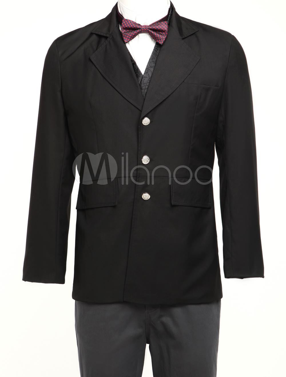 Buy Men's Vintage Costume Victorian Black Coat Retro Suit Jacket Halloween for $90.99 in Milanoo store