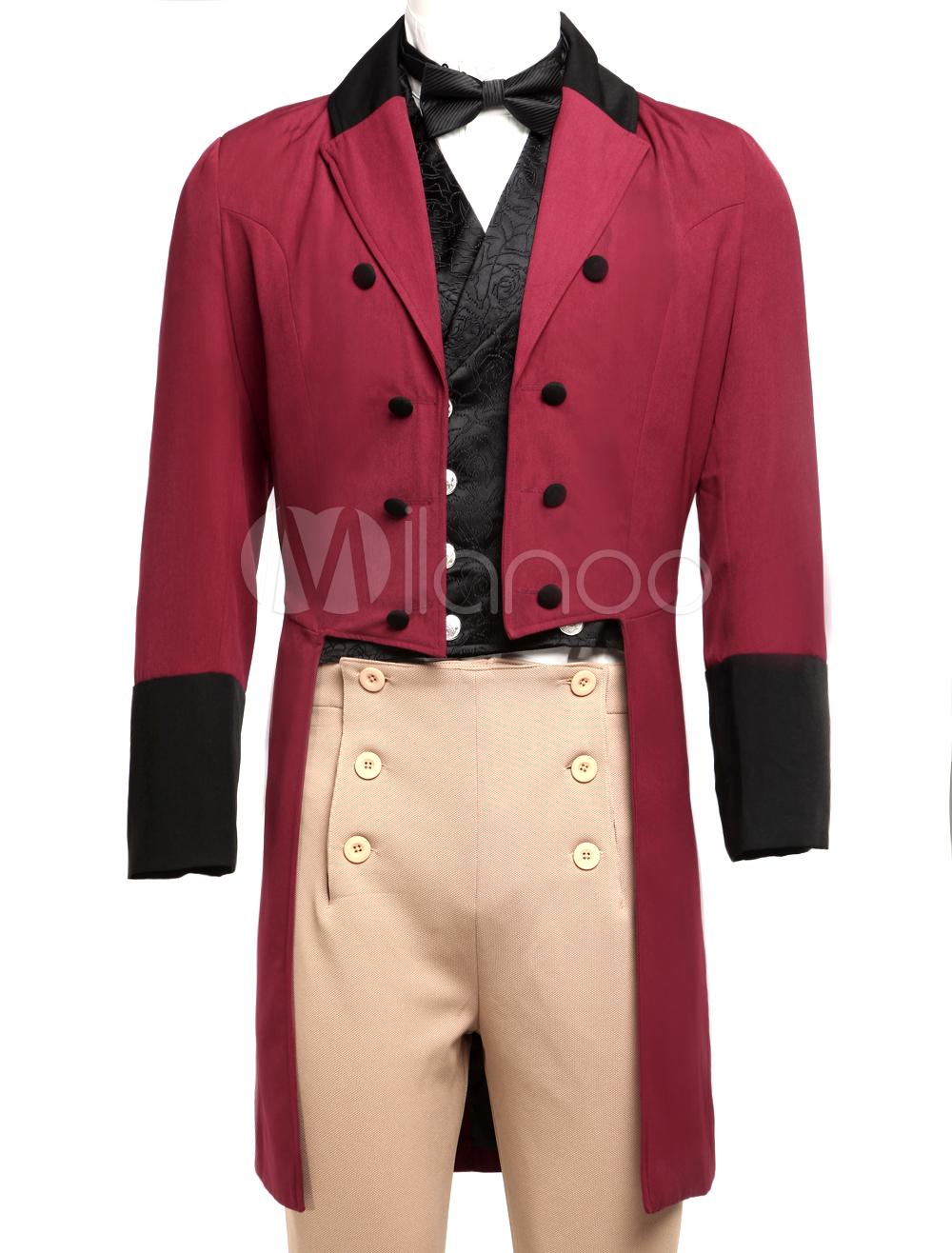 Buy Men's Vintage Costume Victorian Burgundy High Low Coat Retro Overcoat Halloween for $87.99 in Milanoo store