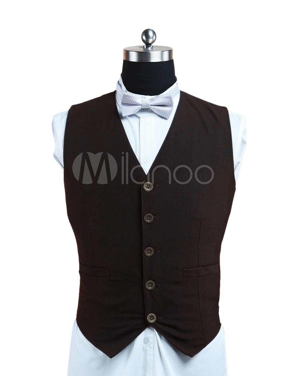 Buy Steampunk Men's Waistcoat Vintage Clothing Brown Suit Vest Halloween for $57.99 in Milanoo store