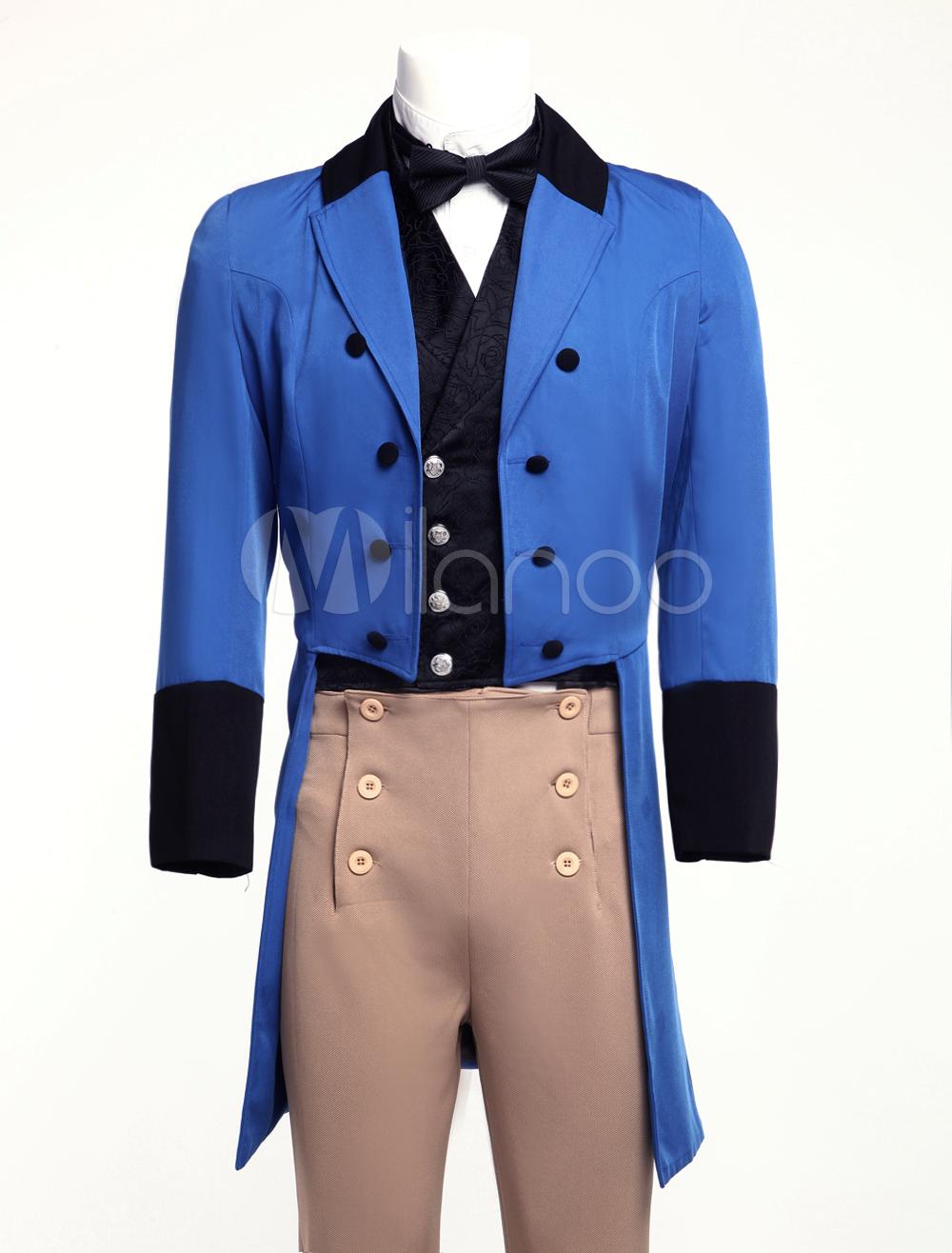 Buy Men's Vintage Costume Victorian Blue High Low Coat Retro Overcoat Halloween for $104.99 in Milanoo store