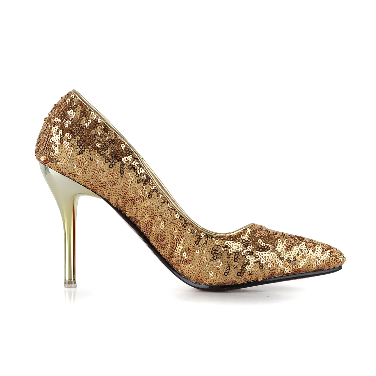 dress glitter sequin spike heel pointed toe sequined cloth