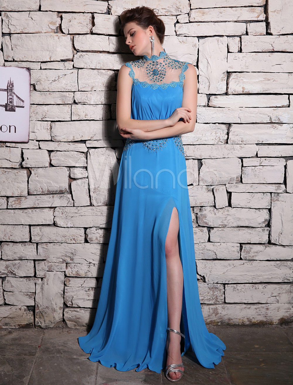 A-line Ocean Blue Chiffon Beading High Collar Evening Dress with ...
