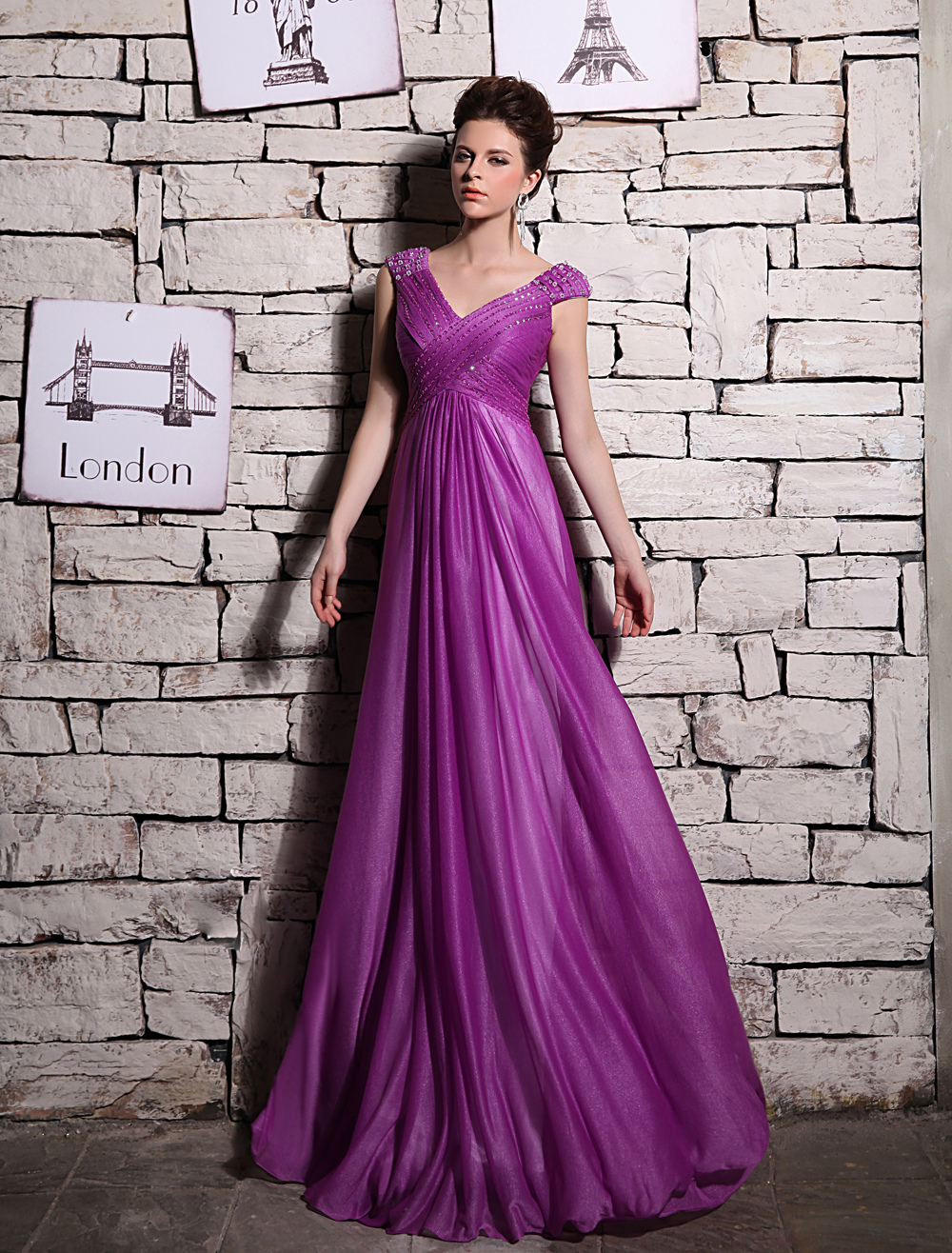 Magenta Evening Dress Elegant Shot-Silk Prom Dress V Neck Beading A Line Sleeveless Party Dress Milanoo