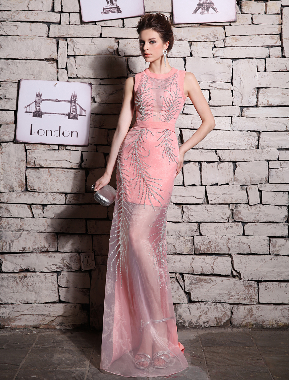Buy Sheath Blushing Pink Organza Beading Jewel Neck Evening Dress with Floor-Length Design Milanoo for $169.99 in Milanoo store