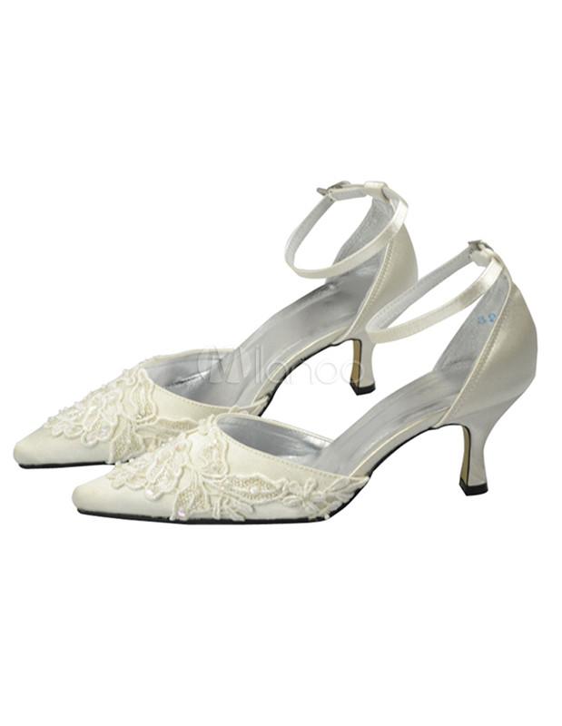 ... 2 1/2u0027u0027 Ivory Satin Lace Applique Ankle Straps Wedding Shoes  ...
