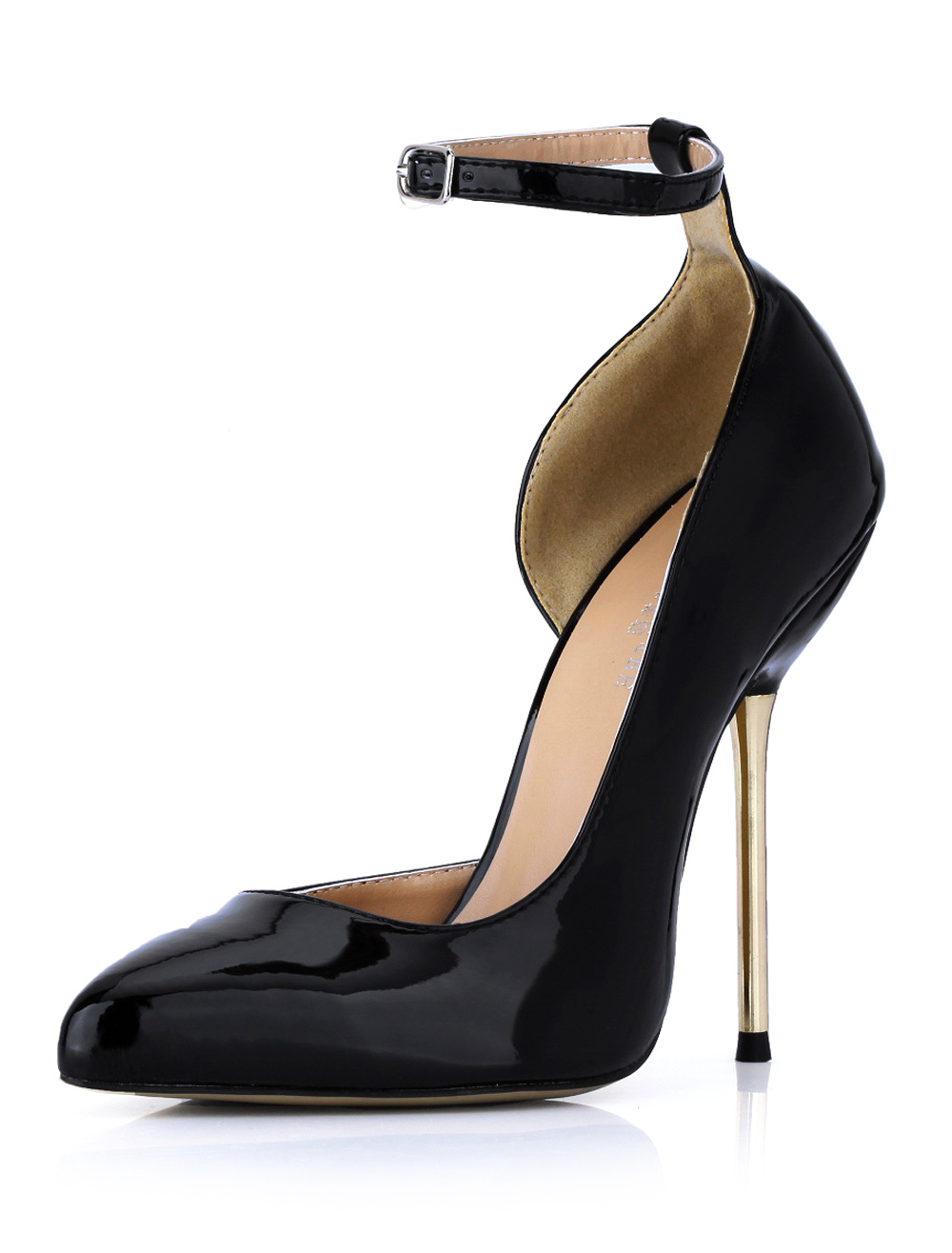 a2d9cfef11a529 Black Stiletto Heel Ankle Strap Patent Leather Woman s High Heels -  Milanoo.com