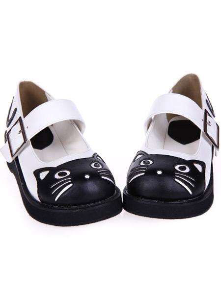 Mate negro blanco Lolita zapatos baja talones cuadrada hebilla hGcWyjKlX