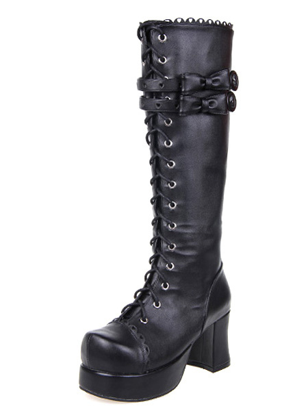 Buy Black Lolita Boots Chunky Heels Platform Shoelace Straps Bows for $103.99 in Milanoo store