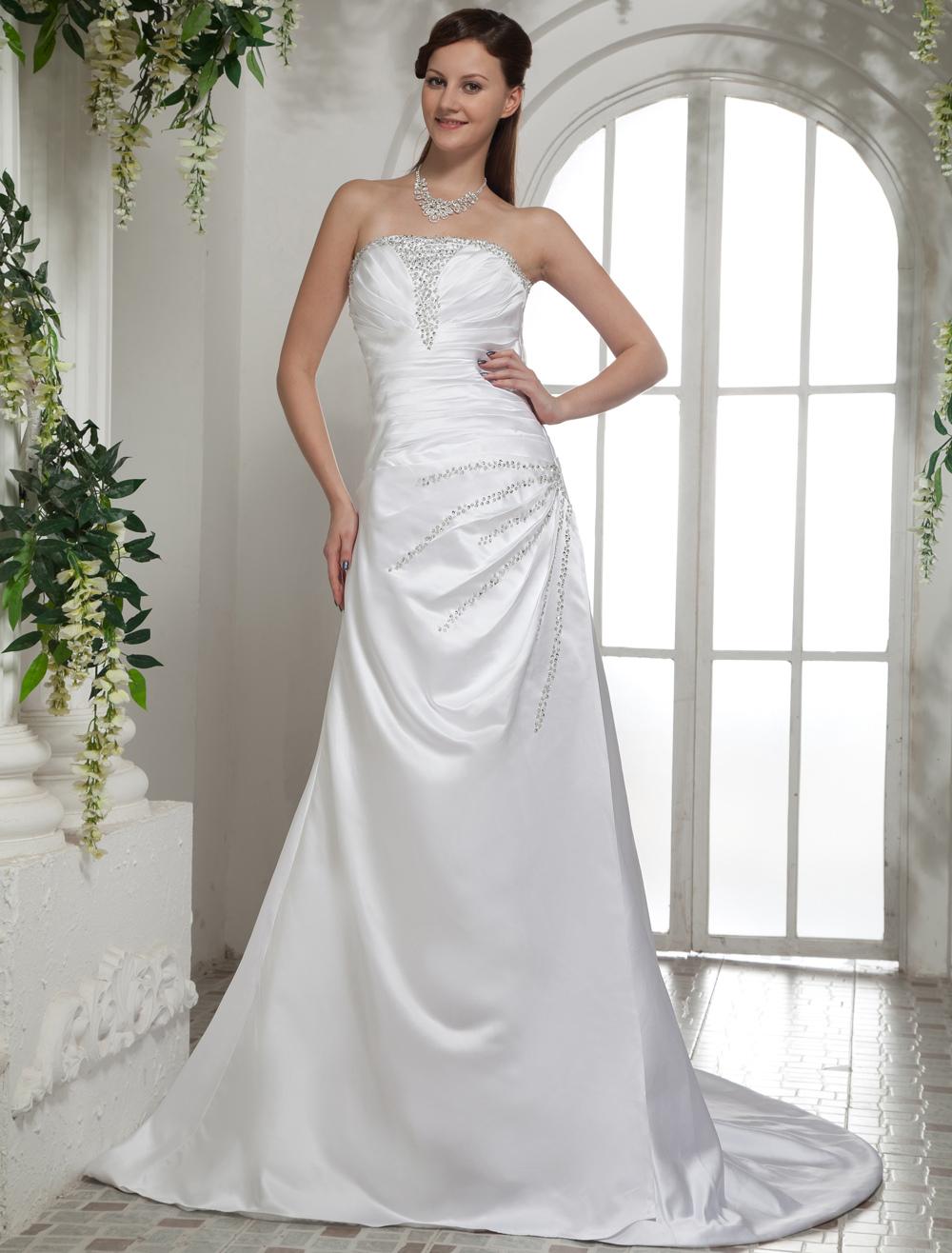 White Satin Beading A-line Sleeveless Bride's Wedding Dress