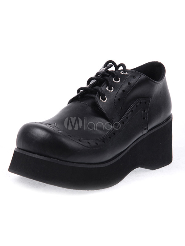 Round Toe Laced Up PU Leather Black High( 3-3.9