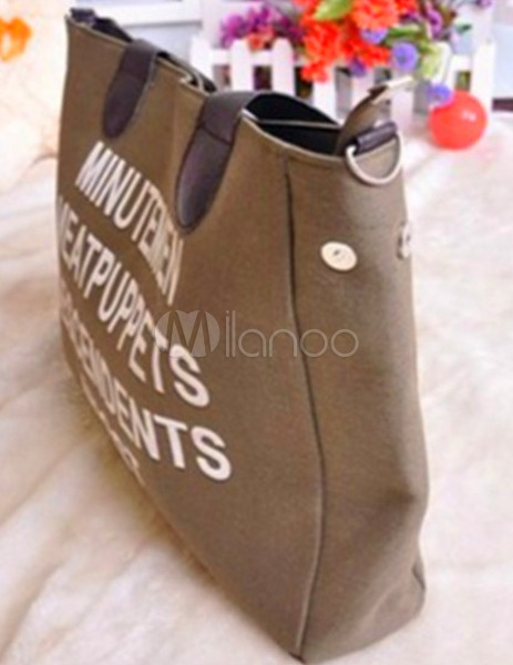 letters decoration zip closure canvas womens shoulder bag