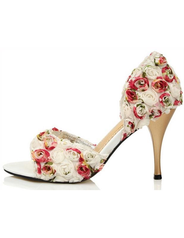 Zapatos Peep Toe de novia con flor ujHM8