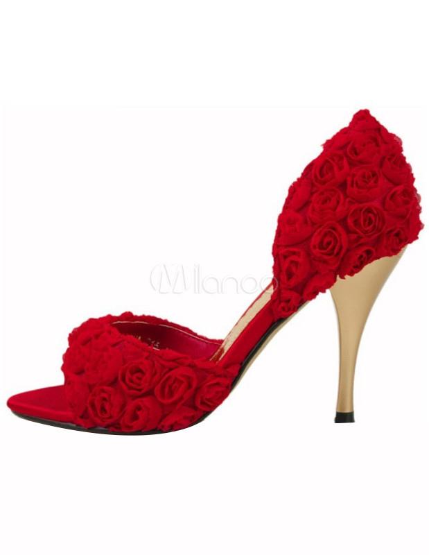 Scarpe con tacco medio rosse floreali di raso - Milanoo.com d38347299cf