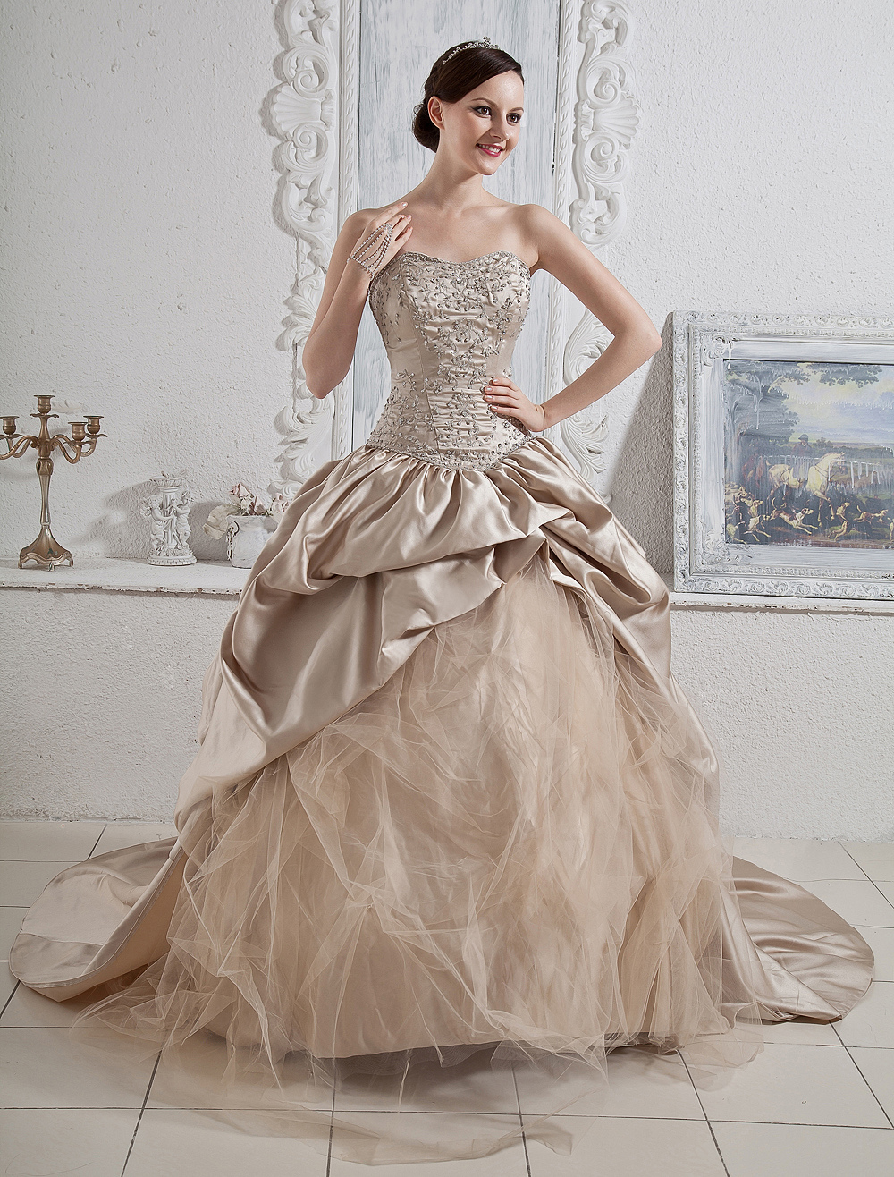 Wedding dresses champagne strapless ball gown bridal dress for Champagne ball gown wedding dresses