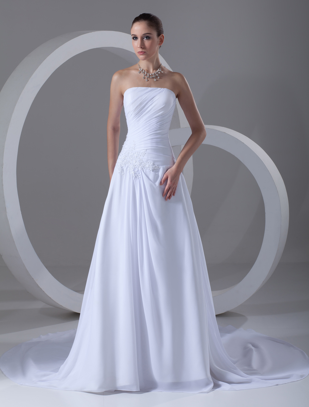 A-line Strapless Applique White Wedding Dress