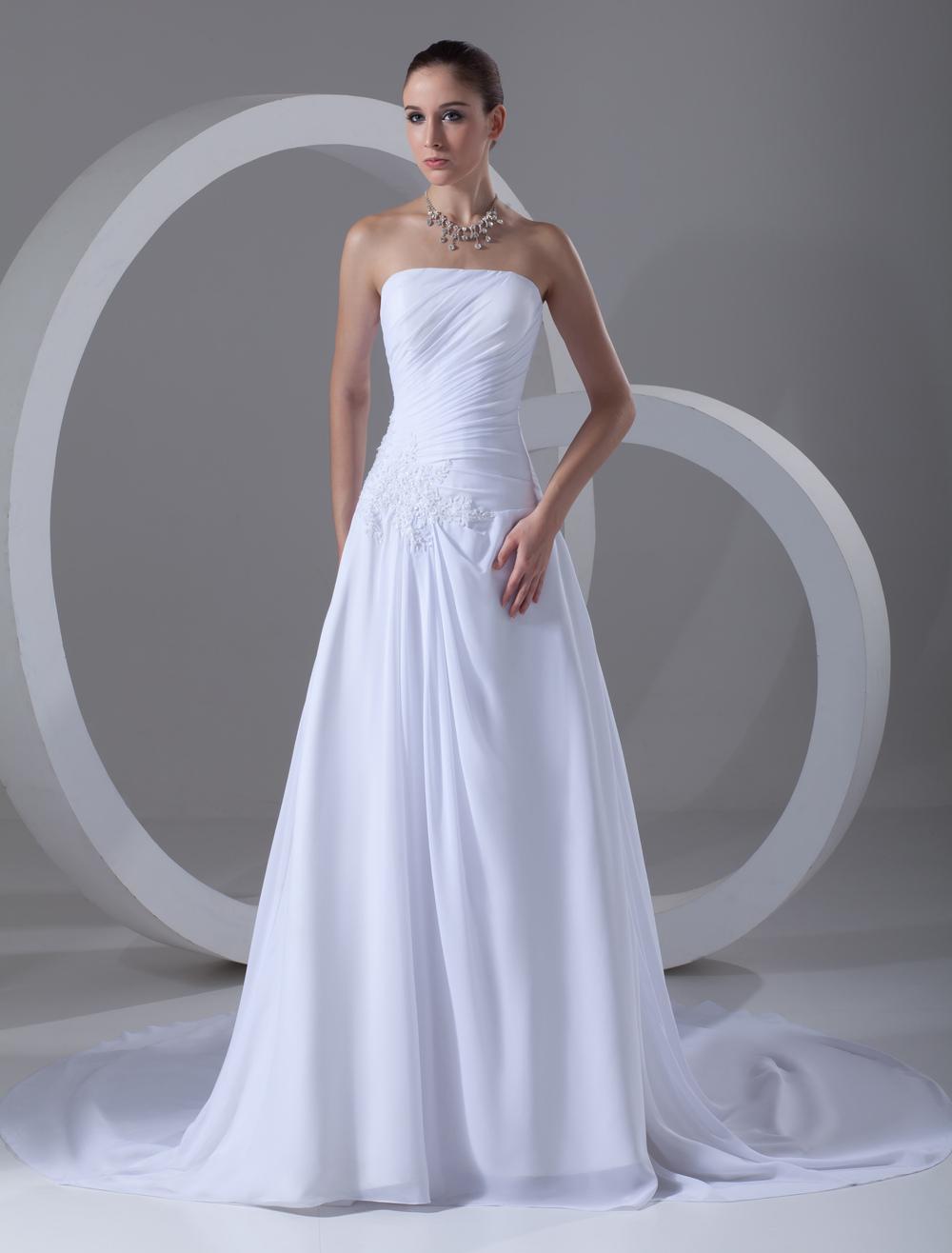 A Line Strapless Applique White Wedding Dress