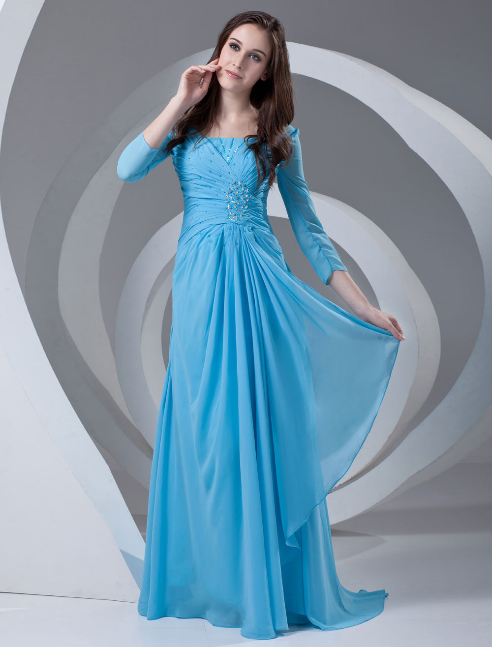Chiffon Evening Dress Cyan 3/4 Sleeve Beading Mother Of The Bride ...