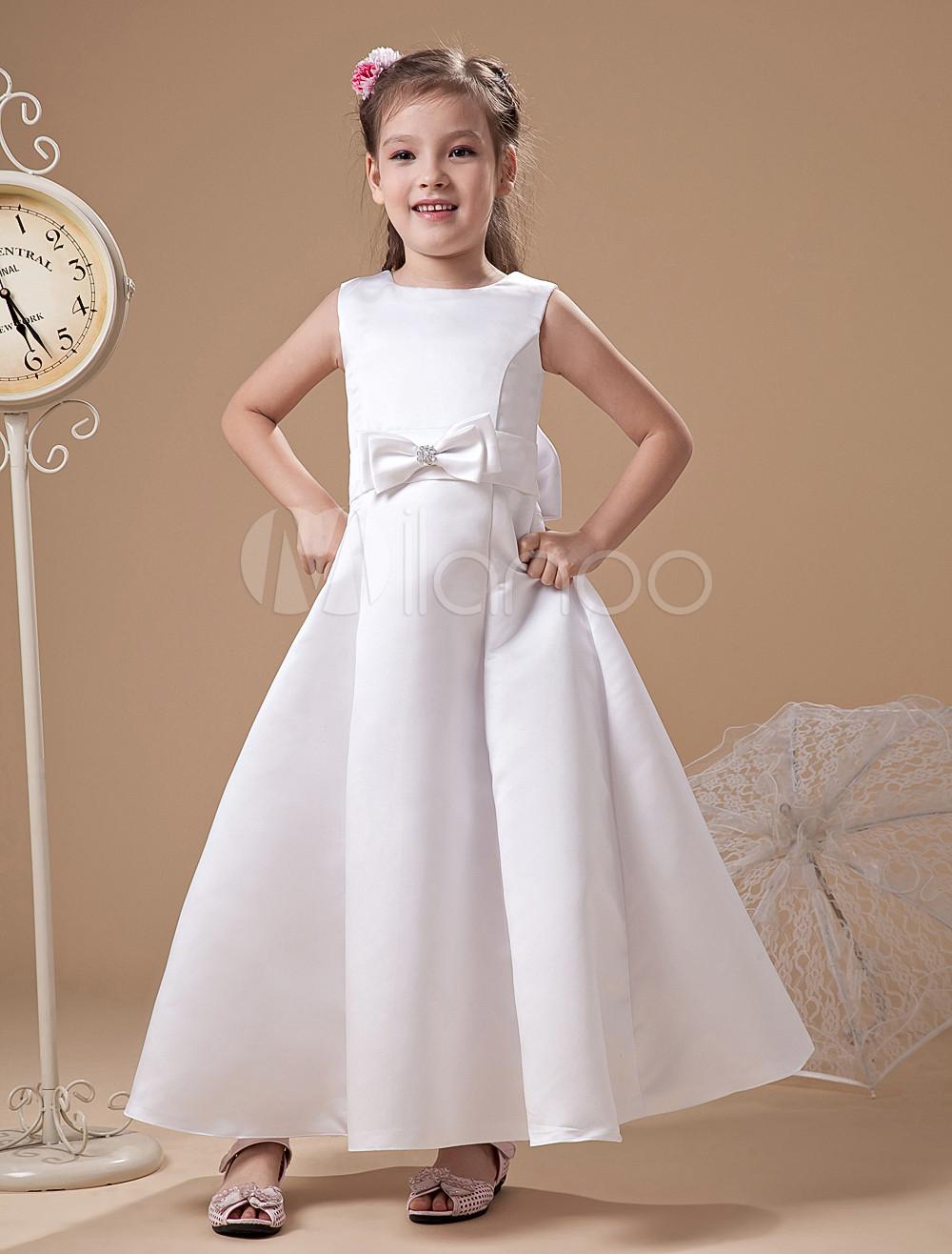 Buy White Romantic Satin Flower Girl Dress for $67.49 in Milanoo store